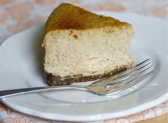 Bruleéd Pumpkin Cheesecake with Gingersnap Crust