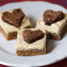 Peanut Butter Frosted Blondies with Brownie Hearts