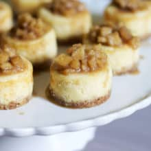 Mini White Chocolate Cheesecakes with Apple Cinnamon Compote