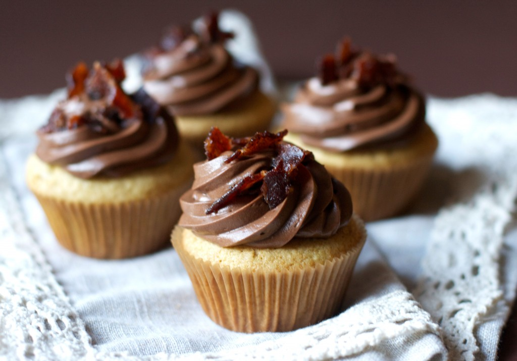 Maple Bacon Cupcakes- The Baker Chick