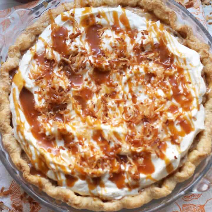 Toasted Coconut Caramel Cream Pie