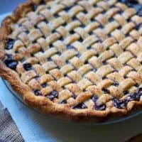 Lattice-topped Cranberry Blueberry Pie