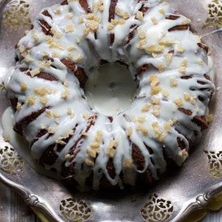 One-Bowl Gingerbread Cake with Lemon Cream Cheese Glaze