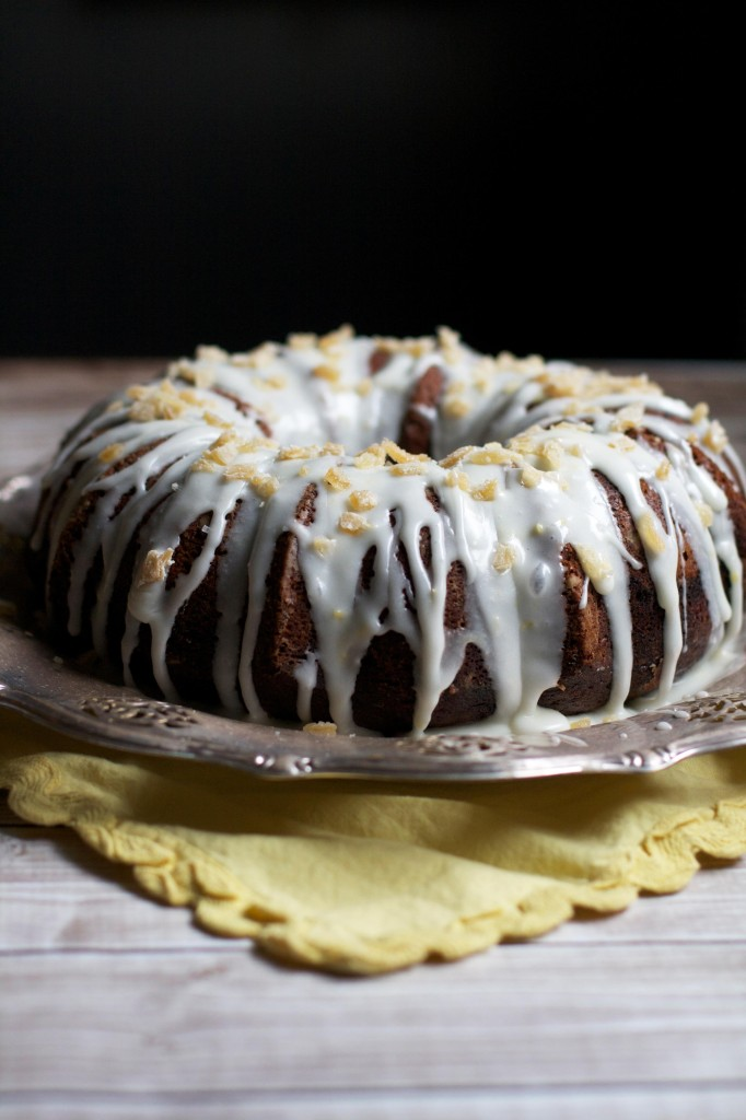 One-Bowl Gingerbread Cake with Lemon Cream Cheese Glaze