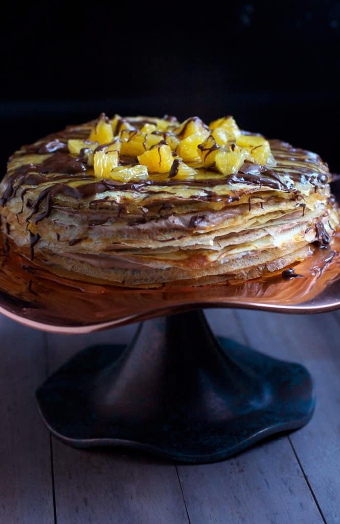 Chocolate Hazelnut Crepe Cake with Orange Frangelico Syrup