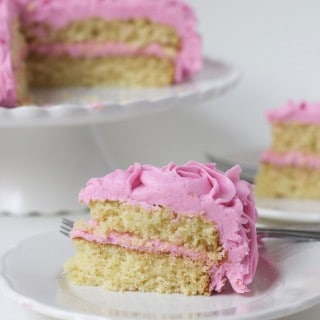 Rose-Frosted Yellow Cake