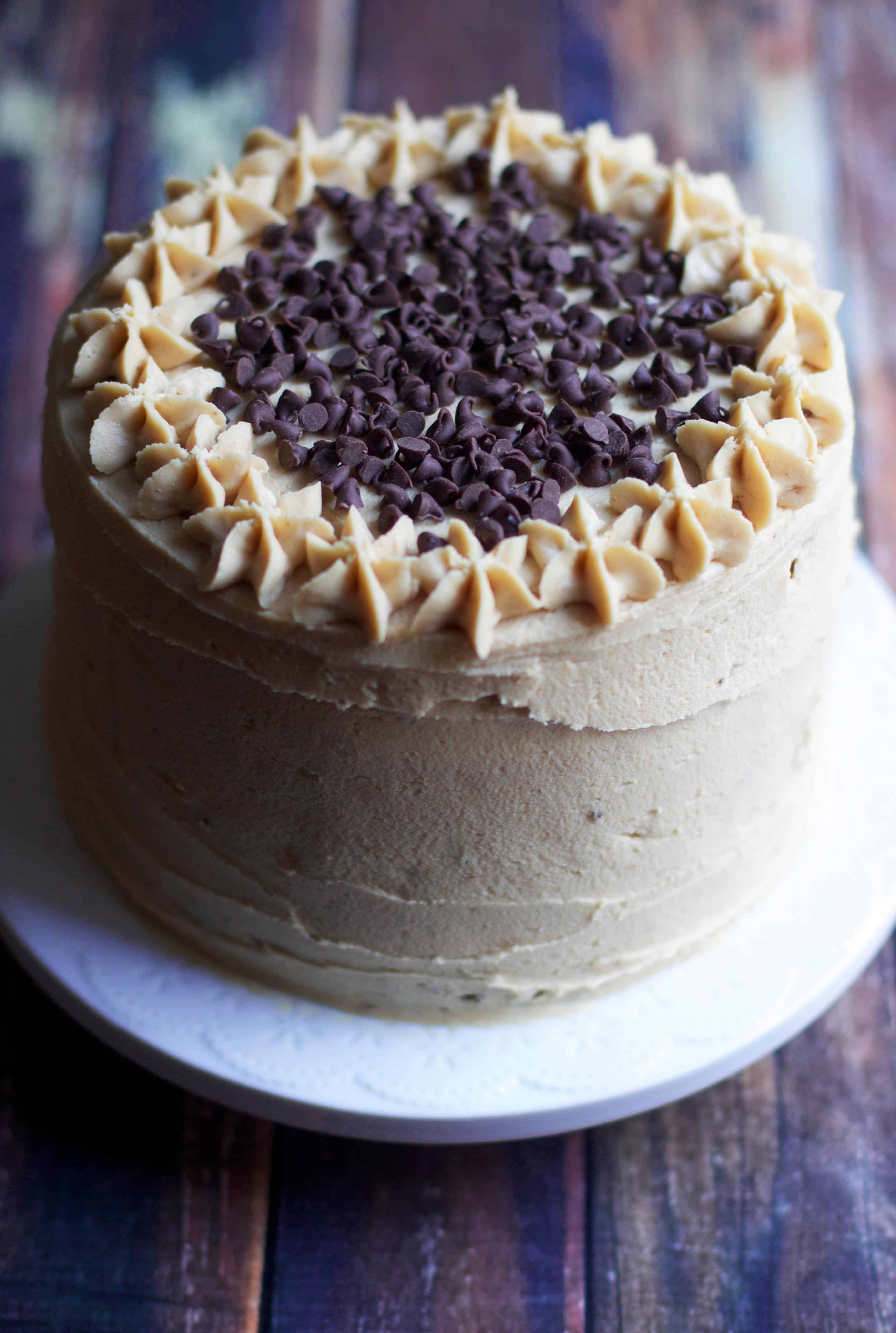 Superb Banana Chocolate Chip Layer Cake With Peanut Butter Frosting Personalised Birthday Cards Paralily Jamesorg