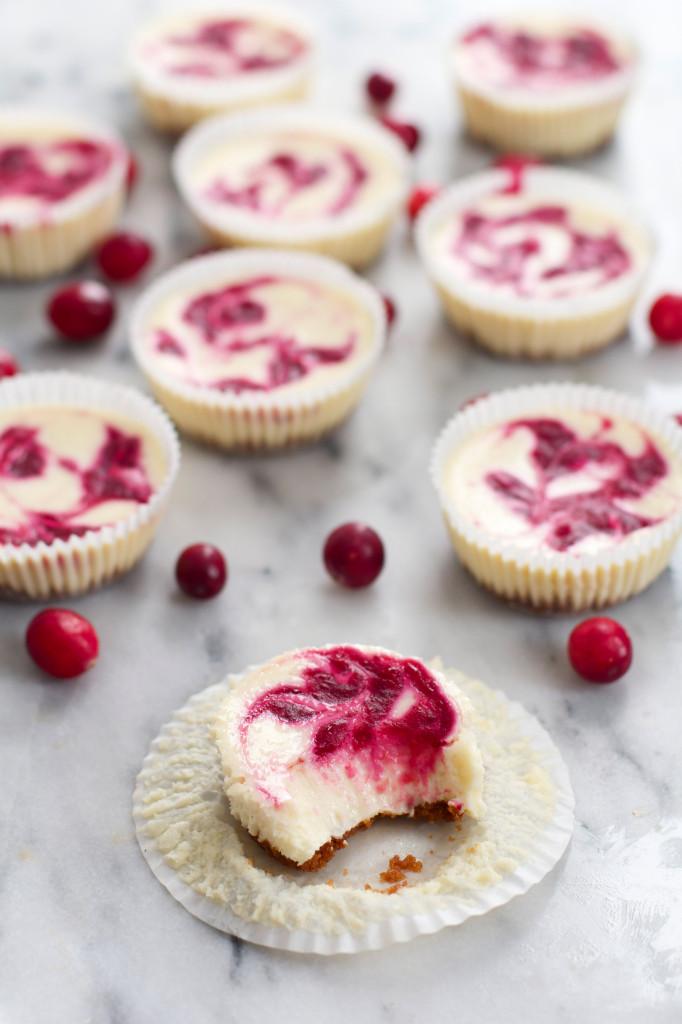 Cranberry Swirl Mini Cheesecakes