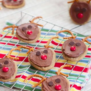 Frosted Chocolate Peanut Butter Reindeer Cookies