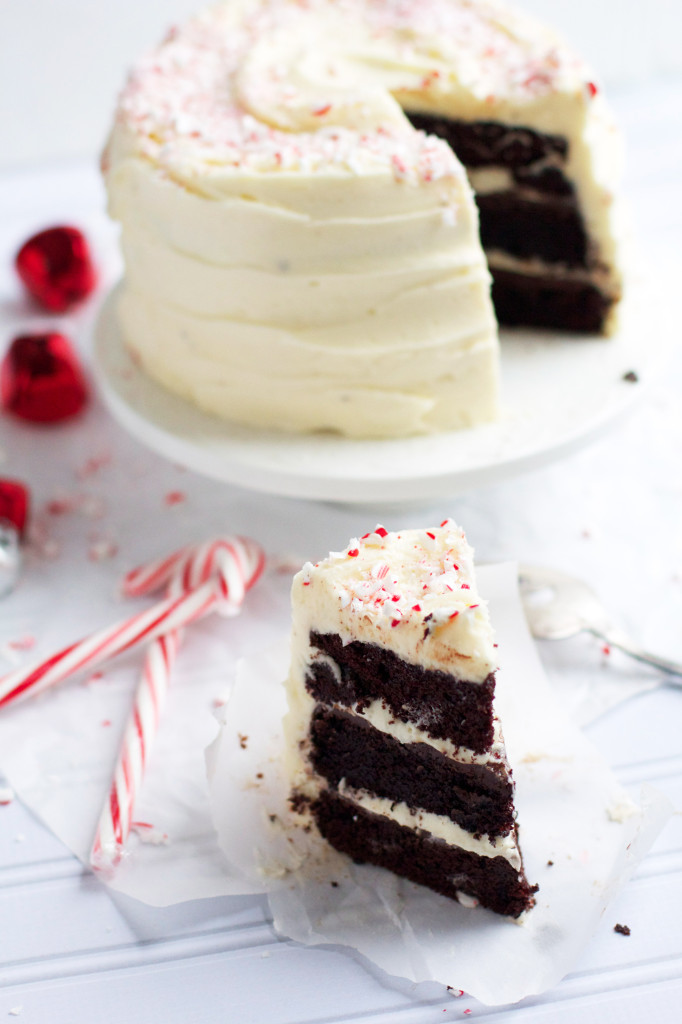 Dark Chocolate Peppermint Layer Cake