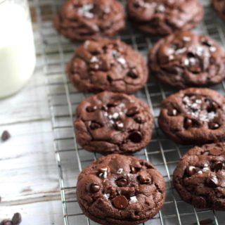 Double Chocolate Cookies with Sea Salt