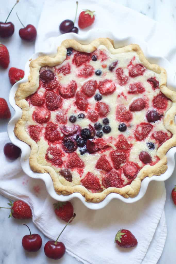 Berry Cherry Custard Pie