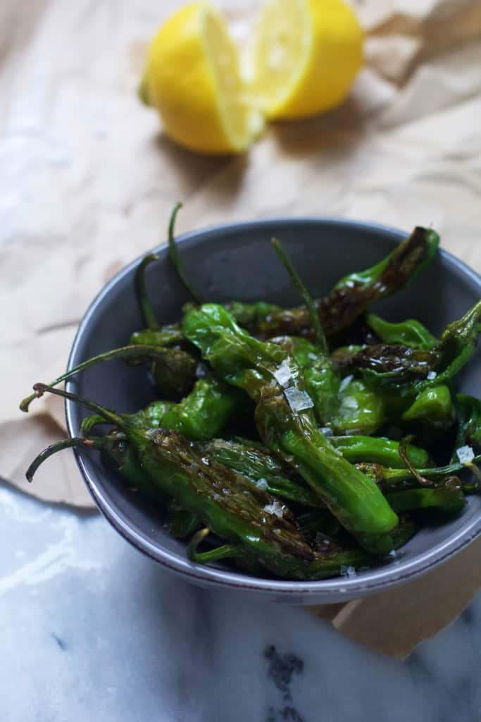 Blistered Shishito Peppers with Lemon and Sea Salt