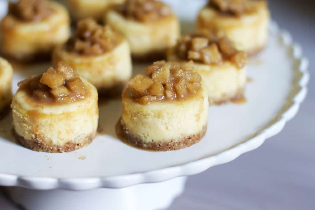 White Chocolate Mini Cupcakes with Apple Cinnamon Compote