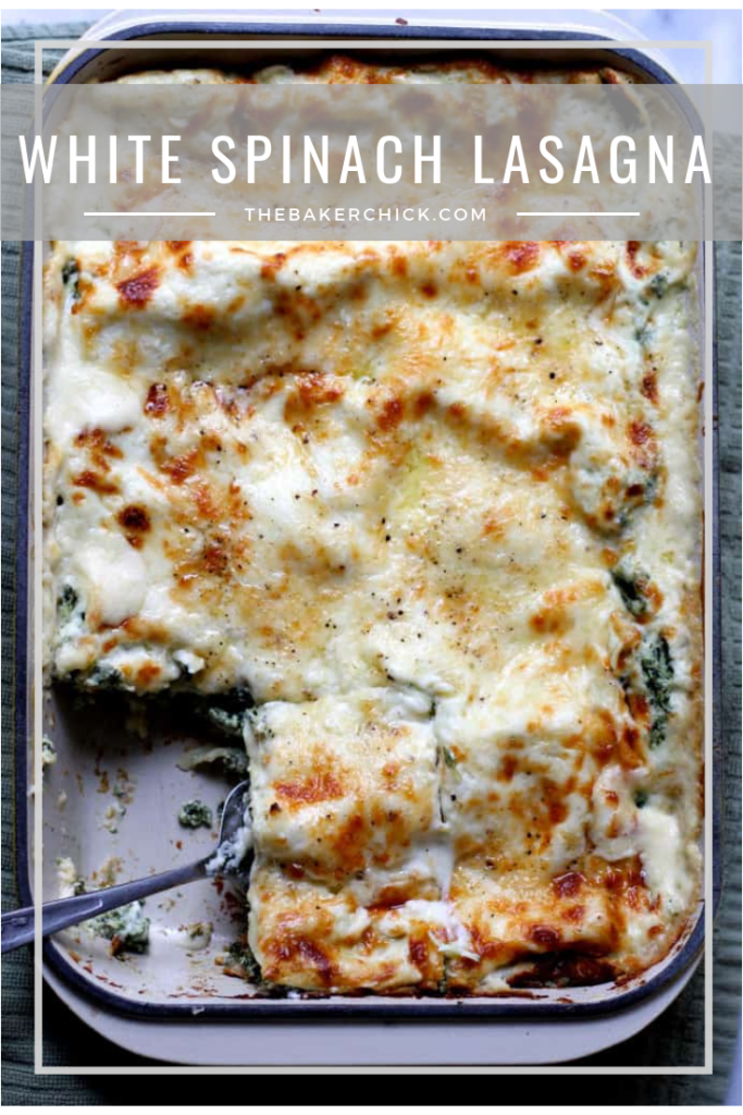 White Spinach Lasagna- a delicious, creamy, vegetarian lasagna that is perfect for dinner with some lemony salad on the side! #vegetarian #dinnerideas #lasagna