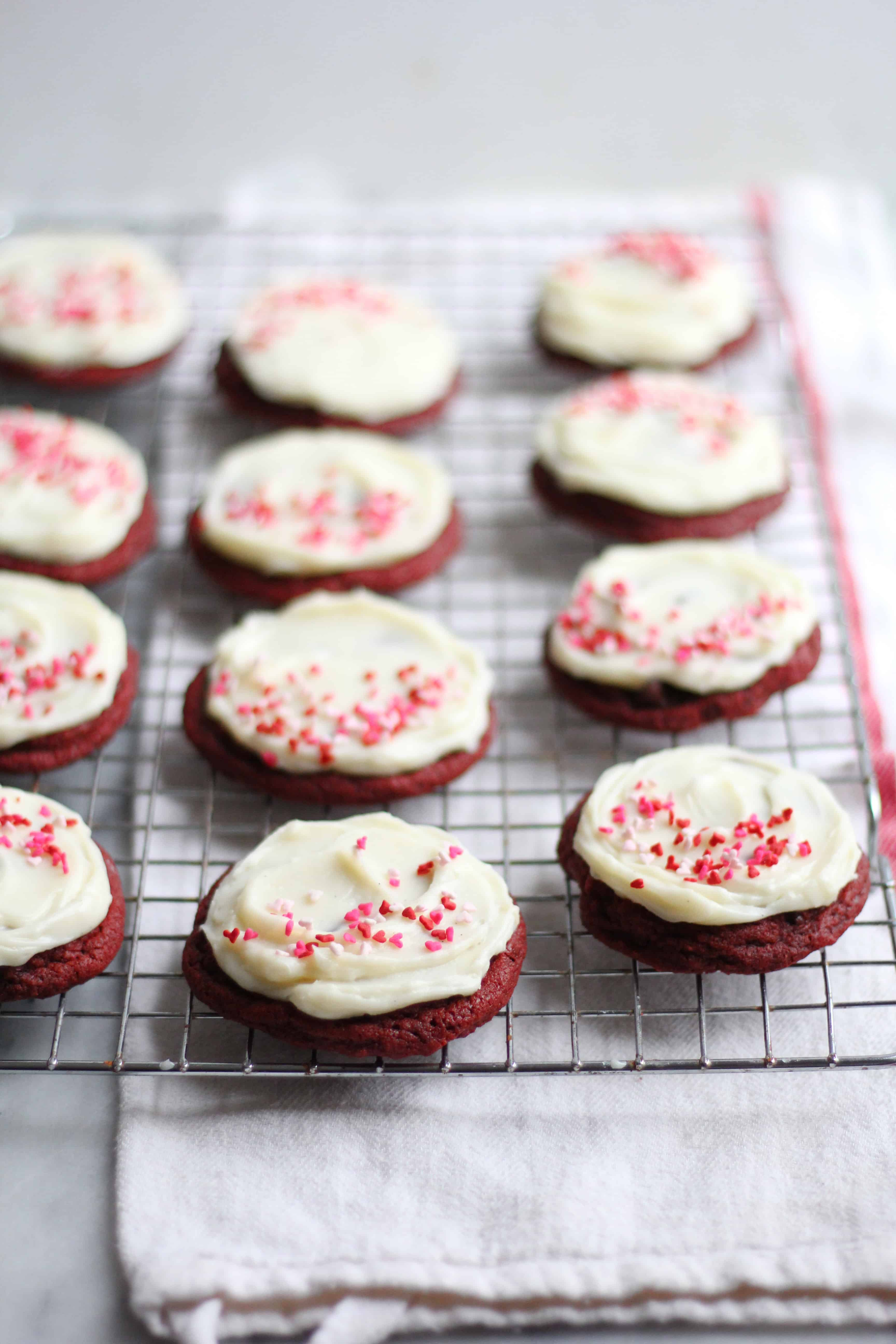 Chewy Red Velvet Cookies with Cream Cheese Icing