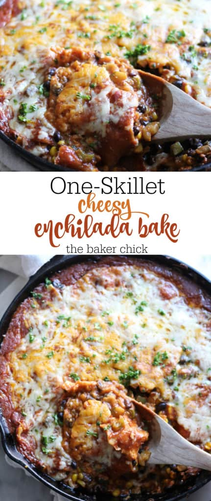 One-Skillet Cheesy Enchilada Bake