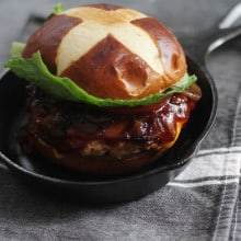 BBQ Chicken Burger with Beer Braised Onions