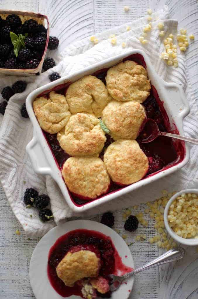 Blackberry Cobbler with Sweet Corn Biscuits