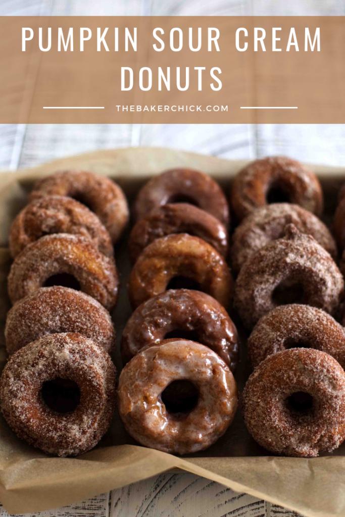 Pumpkin Sour Cream Donuts- the perfect decadent fall treat! #donuts #pumpkin spice