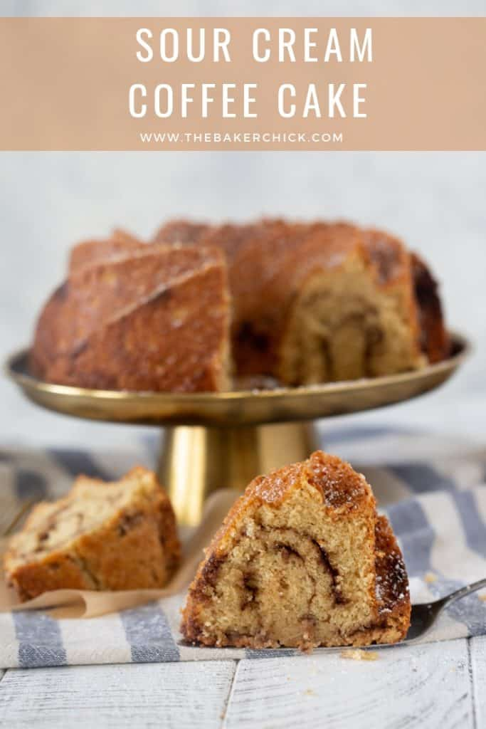 Sour Cream Coffee Cake- the perfect textured cake with a thick cinnamon ribbon inside!