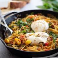One-Pot Burrata Caprese Pasta