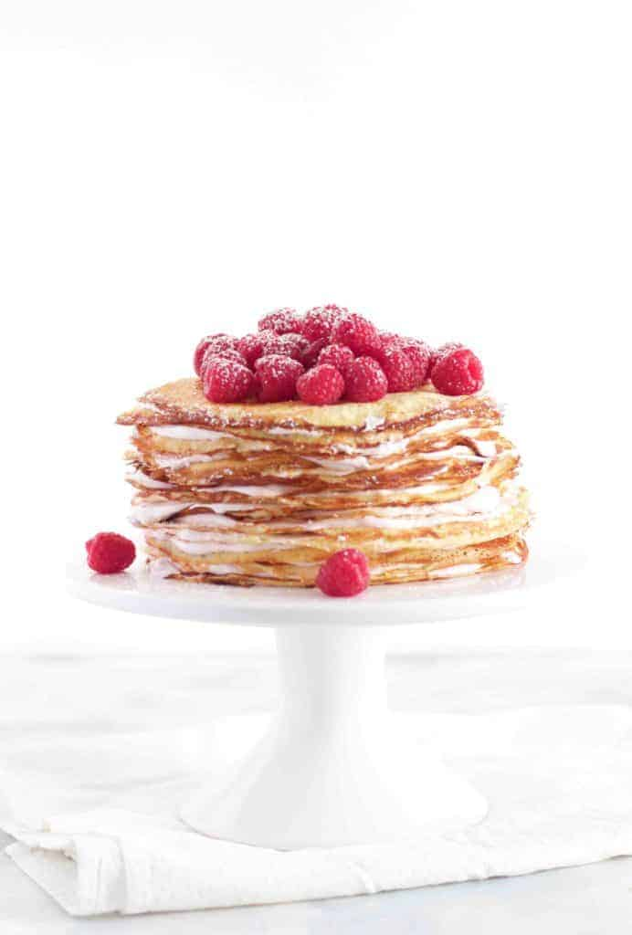 Raspberry Cream Crepe Cake